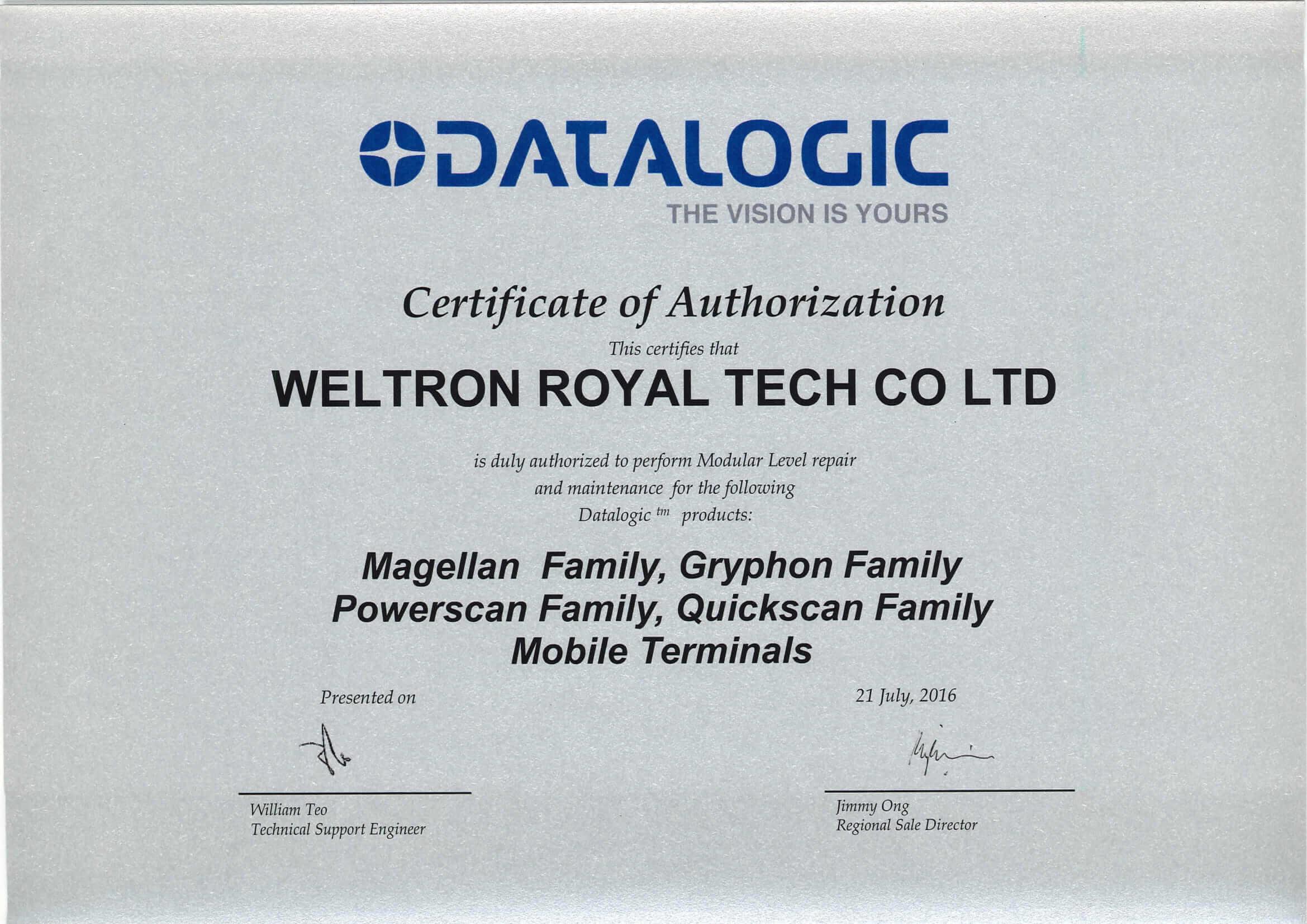 Datalogic Certification